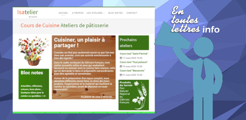 Website Isatelier - Cooking and Pastry Classes in Essonne